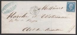 Napoléon III  N° 14Ae (Bleu Sur Lilas) Avec Oblitèration Losange 3213  Sur Lettre  TB - 1853-1860 Napoleone III
