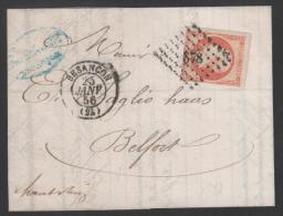 Napoléon III  N° 16 Avec Oblitèration Losange 378 Sur Lettre  TB - 1853-1860 Napoleone III