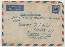GERMANY VF 1938 COVER Via LONDON - BRITISH SOUTH AMERICAN AIRWAYS From LUTHERSTADT  To BUENOS AIRES -  75 Pf. Solo Stamp - Bizone