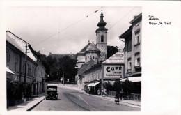 WIEN XIII, Ober St.Veit 1935? - Strassenansicht, Auto, Cafe Zinsler, Fotokarte, Auf Rückseite Klebespuren - Vienna