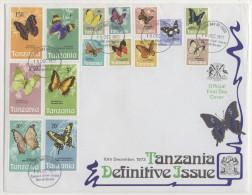 Tanzania 1973 Definitive Complete Set On Superb FDC Butterflies - Tanzania (1964-...)