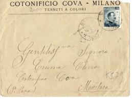 BUSTA POSTALE PUBBLICITARIA--REGNO-CENT .15-MILANO-COTONIFICIO COVA - Storia Postale