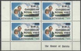 MONTSERRAT - 1985 $1.60 Royal Visit Overprint Block Of Four. Scott 578. MNH ** - Montserrat