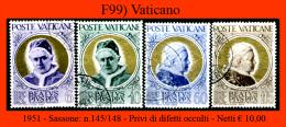 Vaticano-F0099 - 1951 - Sassone: N.145/148 - Privi Di Difetti Occulti. - Vaticano