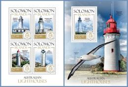 slm13810ab Solomon Is. 2013 Australian Lighthouses 2 s/s Bird