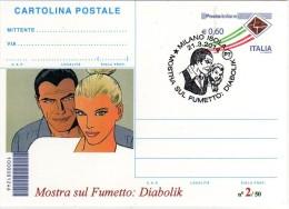 Italia 2014 Annullo Milano Comics Fumetti Diabolik E Eva Kant Cartolina Postale Repiquage - Fumetti