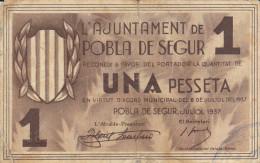 BILLETE LOCAL GUERRA CIVIL 1 PTS AYUNTAMIENTO POBLA DE SEGUR - Espagne