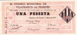 BILLETE LOCAL GUERRA CIVIL 1 PTS CONSELL MUNICIPAL DE VILAFRANCA DEL PENEDES - Espagne