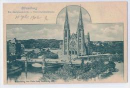 STRASSBURG   Ev. Garnisokirche U. Universitätsbrücke    CARTE PRECURSEUR AVANT 1904 - Strasbourg