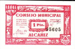 BILLETE LOCAL GUERRA CIVIL 1 PTS CONSEJO MUNICIPAL ALCAÑIZ - Espagne