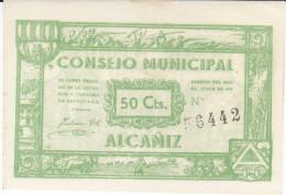 BILLETE LOCAL GUERRA CIVIL 50 CTS CONSEJO MUNICIPAL ALCAÑIZ - Espagne