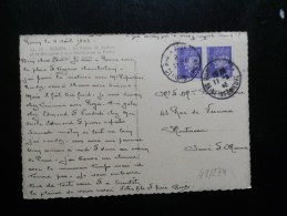 43/274    CP  FRANCE  2X 60C  PETAIN - Marcophilie (Lettres)