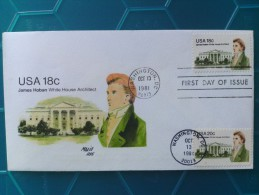 1981 Joint USA / Ireland James Hoban Death 150th Anniv. Andrews FDC With Both US Stamps - Emissions Communes