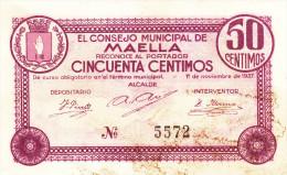 BILLETE LOCAL GUERRA CIVIL 50 CTS CONSEJO MUNICIPAL DE MAELLA - Espagne