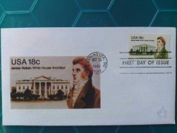 1981 Joint USA / Ireland James Hoban Death 150th Anniv. Andrews FDC With 18c US Stamp - Ltd.edition, Numbered On Reverse - Emissions Communes