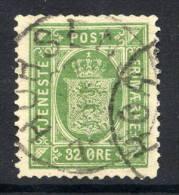 DENMARK 1875-79 Official 32 øre  Green, Used.  Michel Dienst 7YA - Officials