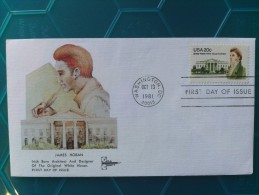 1981 Joint USA / Ireland James Hoban Death 150th Anniv. Gill Craft FDC With Single 20c US Stamp - Emissions Communes