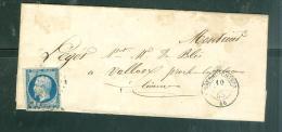 Lot 1 LAC Affranchie Par Yvert N°14 Oblitéré Petits Chifre 765 ( Chateau Chinon ) En 1855   Lot5401 - 1849-1876: Classic Period