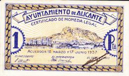 BILLETE LOCAL GUERRA CIVIL 1 PTS AYUNTAMIENTO DE ALICANTE - Espagne