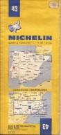 Cartes Michelin 43 - 1975 - Zaragoza  - Barcelona - Cartes Routières