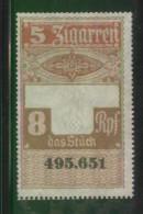 GERMANY 3RD (THIRD) REICH CIGAR BAND REVENUE 10 ZIGARREN 8RPF NO GUM - Allemagne