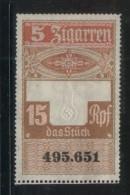 GERMANY 3RD (THIRD) REICH CIGAR BAND REVENUE 5 ZIGARREN 15RPF NO GUM - Allemagne