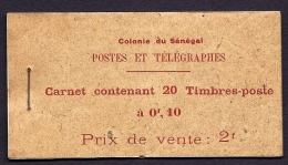RARE CARNET COMPLET NEUF** COLONIES N� 2- 20 TIMBRES- S�N�GAL 10 ct ROUGE AVEC INTERCALAIRE- COTE 200,00 e- 3 SCANS