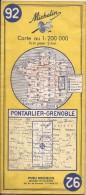 Cartes Michelin 92 - 1971 - Pontarlier - Grenoble - Cartes Routières