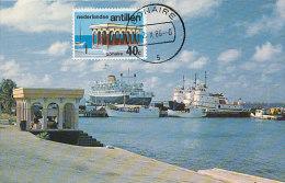 D17599 CARTE MAXIMUM CARD RR 1986 NETHERLANDS ANTILLES - LOCAL ARCHITECTURE FISH MARKET AT BONAIRE CP ORIGINAL - Architecture