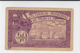 BILLETE LOCAL GUERRA CIVIL  50 CTS CONSEJO MUNICIPAL DE MURCIA - Espagne