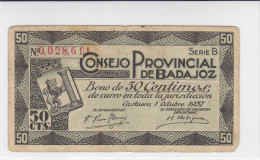 BILLETE LOCAL GUERRA CIVIL  50 CTS CONSEJO PROVINCIAL DE BADAJOZ - Espagne