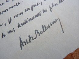 André BELLESORT (1866-1942), Poète Et Romancier, Academie Française. - AUTOGRAPHE. - Autographes