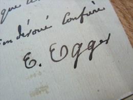 Emile EGGER (1813-1885) Helléniste. Académie Inscriptions & Belles Lettres - AUTOGRAPHE. - Autographes