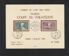 Premiere Coupe Du Philateliste 1938 Tirage 1500 Exemplaires - Poststempel (Briefe)