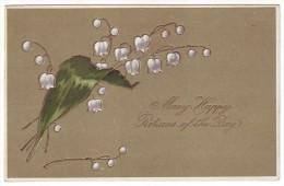 "LILY OF THE VALLEY. ""BIRTHDAY GREETINGS"". Litho, Embossed (Postally Used, PM Rangelei, ME, 1908) - Bloemen, Planten & Bomen"