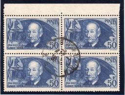 FRANCE : N° 398 OBL . 1938 . BLOC DE 4 . HDF DU ADER . TB . - Marcophilie (Timbres Détachés)