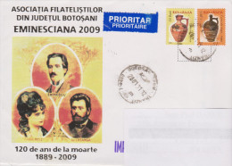 ROUMANIE, Poteries, Sur Lettre Illustrée Eminescu, 2011 - 1948-.... Republiken