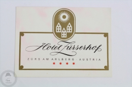Hotel Zürserhof - Zürsam Arlberg - Austria - Original Hotel Luggage Label - Sticker - Hotel Labels