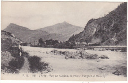 A.  B.  -  1181  -  L´Arve - Vue Sur CLUSES,  La  Pointe  D´ORghet  Et  Marcelly  (au Fond, Le Train Sortant Du Tunnel) - Cluses