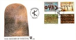 Venda - 1985 History Of Writing FDC # SG 107-110 , Mi 107-110 - Archeologia
