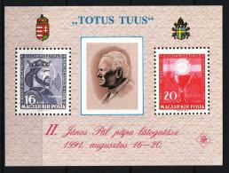 Hungary 1991. II. John Paul Pope Special Sheet (commemorative Sheet) - Herdenkingsblaadjes