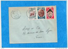MARCOPHILIE-lettre CONGO -pour Françe-cad -JACOB- 1967-3-Stamp- N°162+200+199-Antilope+ma Sques Nègres - Congo - Brazzaville