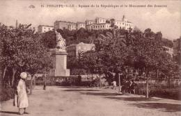 Alte AK  PHILIPPEVILLE - SKIKDA / Algerien - Square De La Republique Et Le ..... - Ca. 1920 - Skikda (Philippeville)