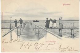 Wismar Mecklenberg-Vorpommern Germany, Bad Wendorf People On Dock Over Water, C1900s Vintage Postcard - Wismar