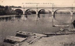 Cpa 1930 SARTROUVILLE, Yvelines, Les Bords De Seine, 2 Ponts, Débarcadères, Péniche, Rives Brutes (40.88) - Sartrouville
