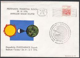 "Yugoslavia 1976, Illustrated Cover ""Annular Solar Eclipse"" W./postmark ""Zagreb"", Ref.bbzg - Astronomie"