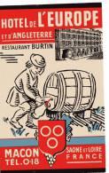 ETIQUETTE HOTEL- FRANCE - HOTEL DE L´EUROPE ET DE L´ANGLETERRE - RESTAURANT BURTIN - MACON - SAONE ET LOIRE - - Hotel Labels