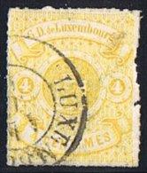 Percé En Lignes Incolores   4 Cent Oblitéré - 1859-1880 Coat Of Arms