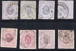 Percé En Lignes Colorées   10 Cent 8 Nuances  Oblitérés - 1859-1880 Coat Of Arms