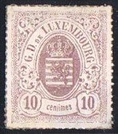 Percé En Lignes Colorées   10 Cent Lilas Pâle  Neuf Sans Gomme (*) - 1859-1880 Coat Of Arms